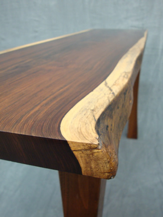 Hall table – Cocobolo slab top and black walnut base