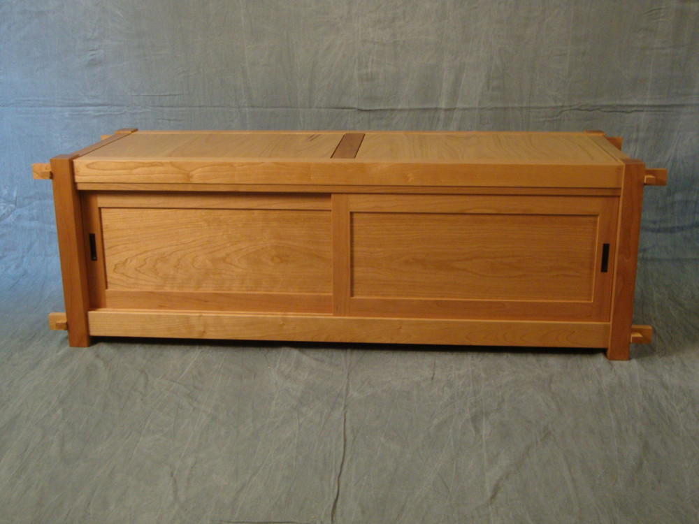 """Here's the finished tansu bench, 55""""(W) x 17""""(H) x 20""""(D).  The doors slide in grooves and lift out as needed. It takes about fifteen minutes to assemble. No tools."""