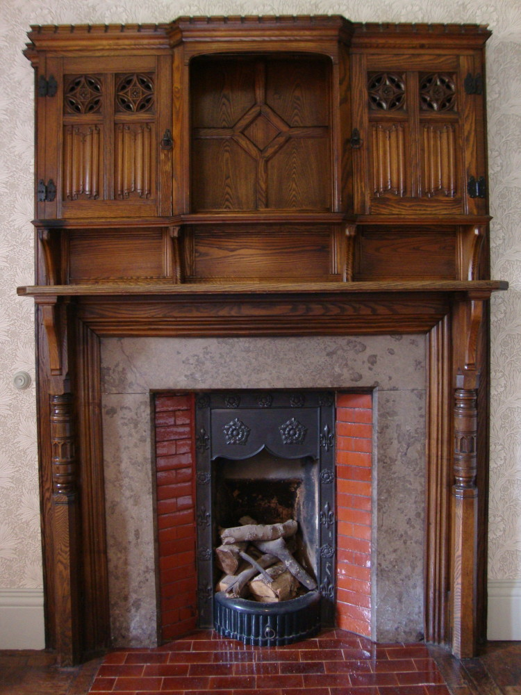 One of the many library fireplaces.