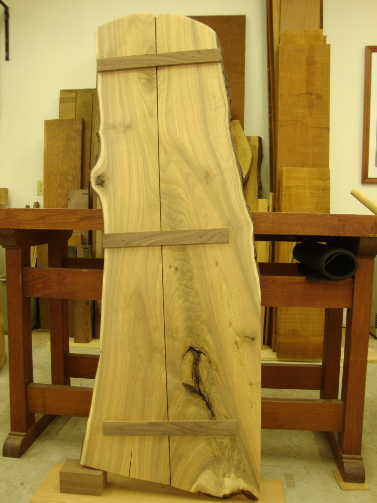 The reverse side of the slab showing the sliding dovetail system used to join the halves.